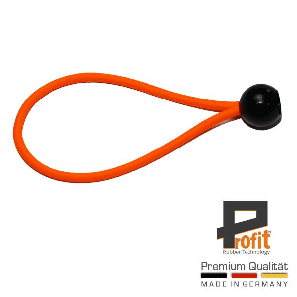 Expanderschlinge mit Kugel 200mm Neon Orange | Spanngummi | Expanderschlingen | Zeltgummi | Profit Rubber Technology