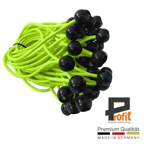 Expanderschlingen mit Kunststoffkugel schwarz 180mm | Neongelb | Expandergummis | Zeltgummis | Spanngummis | Profit Rubber Technology