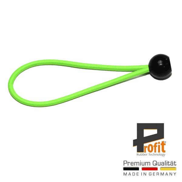 Expanderschlinge mit Kugel 250mm | Expanderschlaufe | Spannschlaufe | Kugel | Neongrün | Expandergummi | Profit Rubber Technology