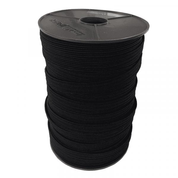 Flachband Gummiband elastisch 11mm | 3mm | 100m auf Rolle Schwarz Multiflex PP