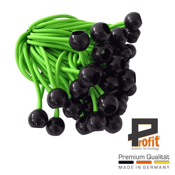 Expandergummis mit Kugel 200mm Neongrün | Spanngummis mit Kunststoffkugel | Spannschlaufen | Zeltgummis | Profit Rubber Technology