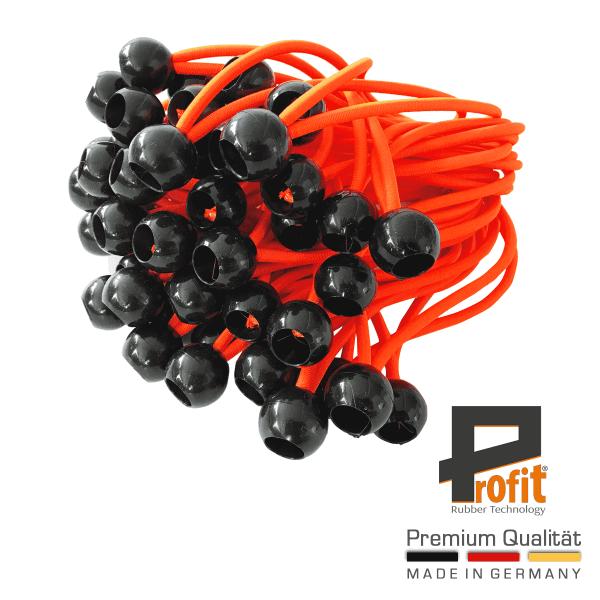 Expanderschlingen mit Kugel | Neon Orange | Zeltgummi | Planenspanner | Zeltgummis | Spanngummis | 25 Stück | Profit Rubber Technology