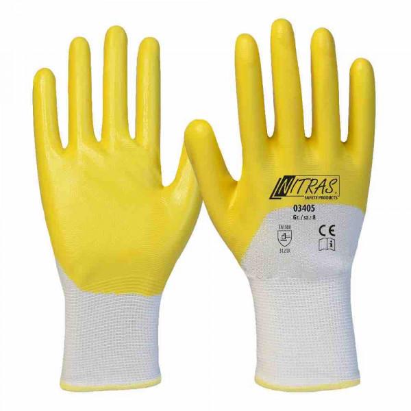 Nitrilhandschuhe Polyester weiß Nitril-Beschichtung gelb 3/4-beschichtet Strickbund