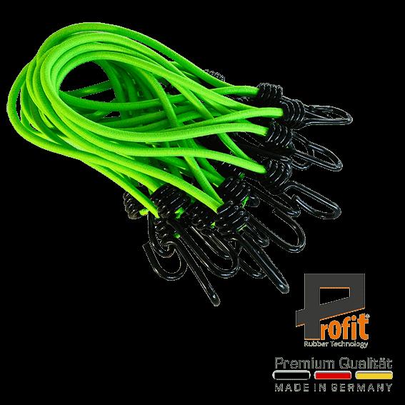 Expanderschlinge - Planengummis Neongrün 200mm mit Spiralhaken 25 Stück